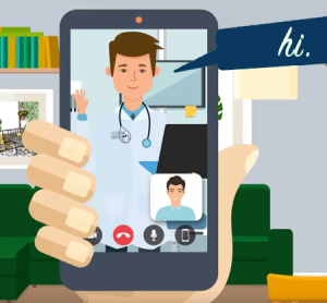 Cartoon image of a hand holding a cell phone that displays an ongoing televisit between a medical provider and a patient.