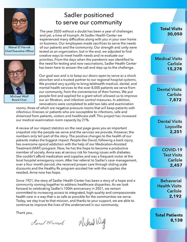 Sadler 2020 Impact Report - Page 2
